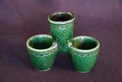 Zöld mázas népi kerámia sótartó