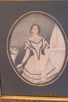 Osztrák festő 19. sz. közepe: Ifjú hölgy portréja, eredeti, rendkívüli minőségű és állapotú keretben