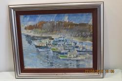 Gulyás Dénes (1927-2003): Hajók (1975), akvarell, papír