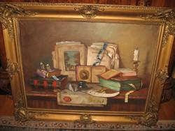 APÁTFALVI CZENE JÁNOS  Csendélet könyvekkel és GUTAHÁZY NÉMETH GYULA: Piac / 2 festmény egyben/