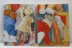 Tamási Claudia (1976- ): Játékok I-II diptichon, akril-vászon