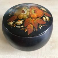 Doboz-orosz, kézzel festett-fém