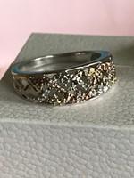 16mm Ezüst gyűrű brilliáns kövekkel 925-ös valódi ezüst ékszer