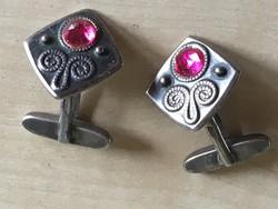 Mandzsettagombok-ezüst-orosz-rubinnal