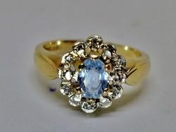 Csodálatos antik akvamarin és gyémánt arany gyűrű