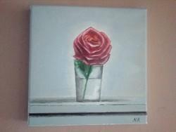 Csendélet rózsával c. olajfestmény