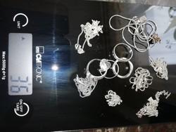 Eladó hatalmas jelzett 925-ös ezüst csomag, nyakláncok, medálok, gyűrűk, fülbevalók, karkötő.