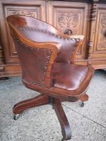 Eladó ez az eredeti antik bőr chesterfield karosszék (íróasztalszék) !