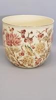 Gyönyörű szép Zsolnay pillangó és virág mintás kézi festésű kaspó