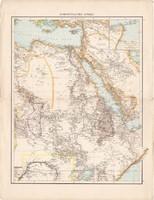 Északkelet - Afrika, Egyiptom, Algéria, Tunisz térkép 1887, német atlasz, eredeti, antik, régi