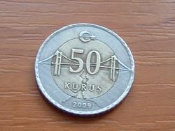 TÖRÖK 50 KURUS 2009 BOSZPORUSZ HÍD BIMETÁL #