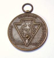 Munkás Testedző Egyesület  30 éves jubileumi érem 1938