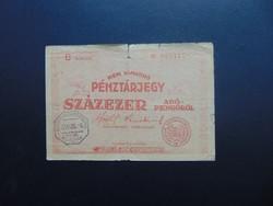 100000 adópengő pénztárjegy 1946