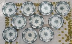 Gyönyörű zöld virágos vintage tányérok - Rörstrand Floral - 6 db mély, 4 db lapos
