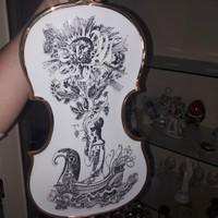Szász Endre aranyozott porcelán hegedű, hibátlan