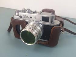 Zorkij 4 fényképezőgép, bőrtokban , működő, megkímélt állapotban