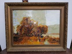 54 x 73, plusz keret, súlyos, üvegezett keretben, Halásztanya, Molnár György