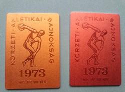 Retro Bp, VIII. kerületi Atlétikai Bajnokság emlék plakett (1973.)