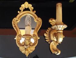 2 db. antik falikar,1 tükrös,aranyozott,faragott,fa