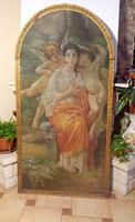 Antik gyönyörű Oltárkép 173 x 87 olajnyomat vászon