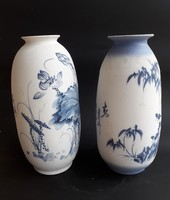 2 japán biszkvit művészi padlóváza - kék dekorral - kínai, távol-keleti