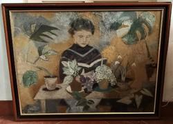 100x80 cm Scholz Erik (1926 - 1995) Olvasó lány c. Képcsarnokos festménye EREDETI GARANCIÁVAL !
