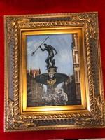 Neptun szökőkúton, /olaj vászon festmény