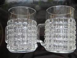 Retro kockás üveg korsó pár