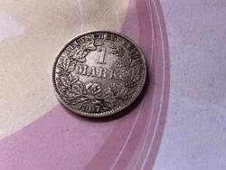 """1907""""A"""" ezüst 1 márka 5,5 gramm 0,900 szép db"""