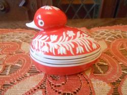 Hollóházi porcelán kacsa bonbonier