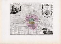 Párizs térkép 1180 - 1223, kiadva 1877, francia, atlasz, eredeti, 25 x 35 cm, régi, Franciaország