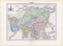 Ázsia térkép 1877, francia, atlasz, eredeti, 35 x 48 cm, XIX: század, régi, nagy méret
