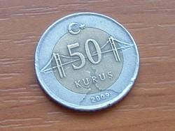 TÖRÖK 50 KURUS 2009 BOSZPORUSZ HÍD BIMETÁL