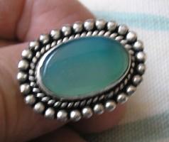 926 ezüst gyűrű 17,5/56 mm, zöld onix kővel