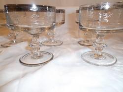 Üveg - EXKLUZÍV - pohárKÉSZLET - 6 db - 12 x 9,5 cm  nagyon vastag  - ezüstüzött - gravírozott