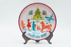 Kőbányai zománcos gyerektányér - karácsonyi képpel - ritka retro gyermek tányér