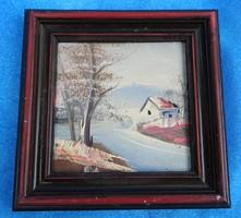 Tájkép- eredeti mini olaj festmény