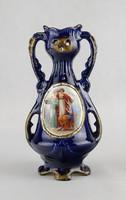 0W615 Régi kobaltkék Josef Strnact majolika váza