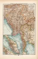 Burma és Maláj - félsziget térkép 1904, eredeti, Moritz Perles, német, atlasz, régi, Ázsia