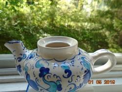 Kézzel festett jelzett,szignós,török kerámia kis kávé  kiöntő kobaltkék türkizkék  érdekes mintával