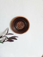 Vintage,retro,virágmintás vörösréz falitányér