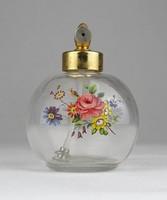 0W761 Régi virágdíszes parfümös üvegcse kisüveg