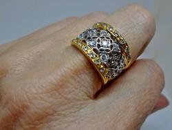 Különleges antik orosz széles köves ezüstgyűrű
