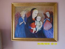 Berkes András:Madonna a kis Jézussal - hatalmas olaj festménye!!