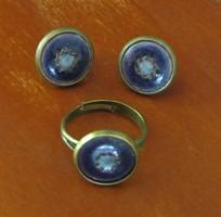 KÉZMŰVES Tűzzománc garnitúra - gyűrű + fülbevaló