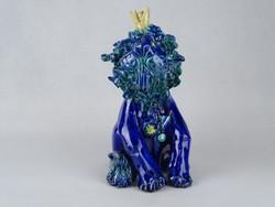 0W526 Morvay Zsuzsa művészi kerámia oroszlán 21 cm