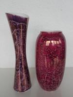 Hollóházi kis vázák, márvány mintázatú. 2 db