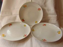 3 db Zsolnay kis virág mintás süteményes tányér