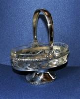 Antik ezüst kínáló asztalközép eredeti csiszolt üveg betéttel