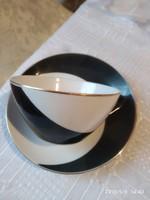 Hollóházi fekete fehér kávés csésze